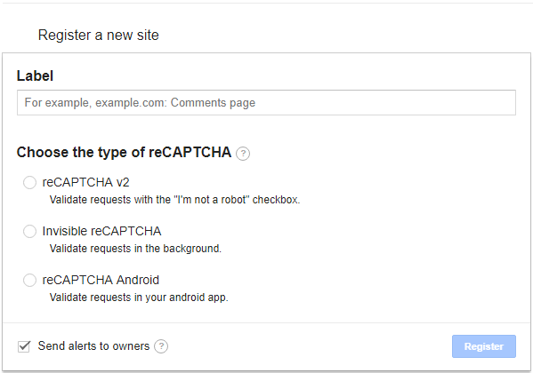 Register on Google reCaptcha